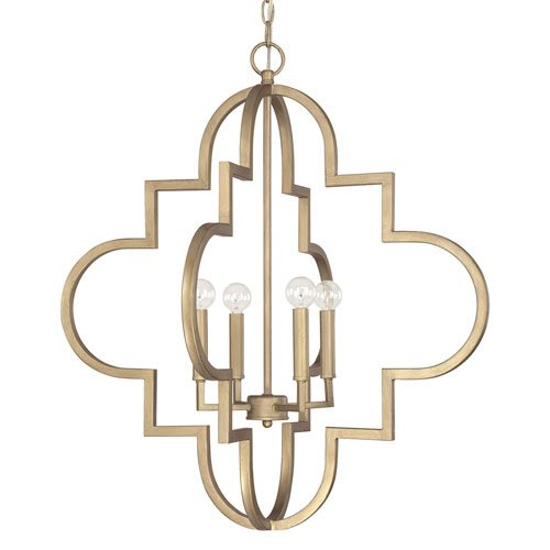 251 First Whittier Brushed Gold Four-Light Pendant (Whittier Lantern Pendant)