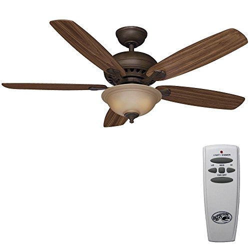 Southwind 52in. Venetian Bronze Ceiling Fan, Five Reversible Blades, Walnut/Dark Oak, with Remote Control