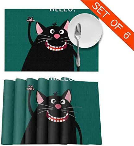 Compra Hectwya Tarjeta de felicitación Dama Home con manteles de Gato de Dibujos Animados sonrientes para Mesa de Comedor Juego de 6 aislantes térmicos Resistentes a Las Manchas 12x18 I en Amazon.es