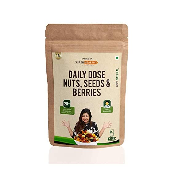 Super Healthy Dry Fruit Nuts, Seeds & Berries Mix | Nutritious and Crunchy Trail Snack | 20+ Varieties (Bulk Pack - 1 Kg)