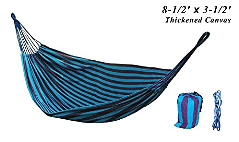 Portable Hammock Tree Sack for Courtyard Creation Hiking Camping or Kids Playing in Garden, High-density Cotton Canvas 100 x 40 inches with Straps for Single Person (Blue - Machine Spreader Bar