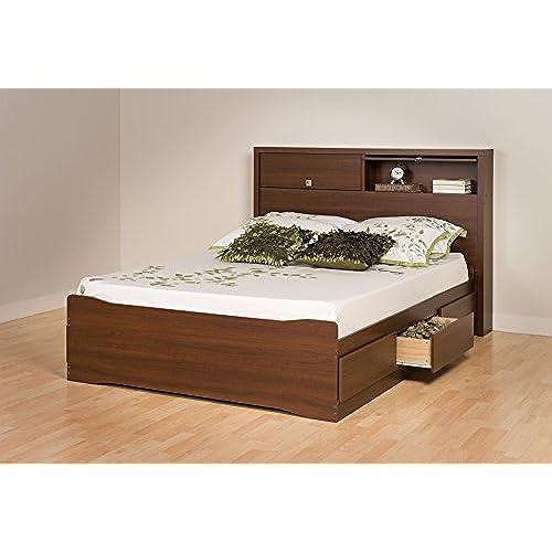 prepac coal harbor mates platform storage bed with 6 drawers queen warm cherry - Dresser Bed Frame