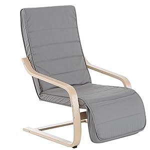 HOMCOM Fauteuil Luxe Confort et Relaxation avec Repose-Pied réglable déhoussable 81 x 67 x 100 cm Bois Massif Gris