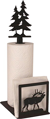 Coast Lamp Iron Elk Paper Towel/Napkin Holder with double Pine Tree Topper