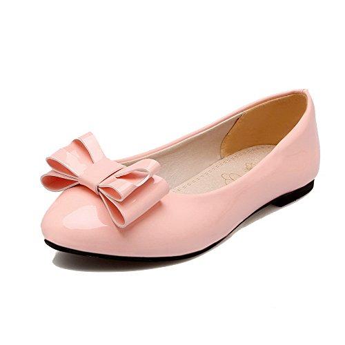 Flats Chiusa Tacco FBUIDC005243 Basso Puro Tirare Donna Ballet AllhqFashion Luccichio Punta Rosa wq50zvCa