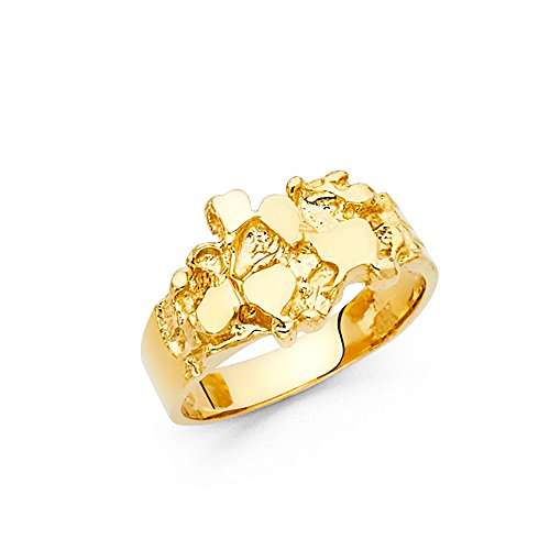 Ioka - 14K Yellow Solid Gold 10MM Nugget Men's Ring - 5 (Yellow Nugget Ring Gold)