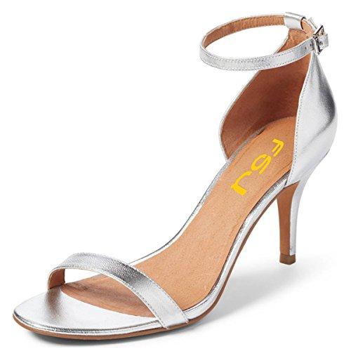 Strap Women Silver Shoes Stiletto 15 Sexy Sandals Open Comfort Ankle Size 4 US Heels Cocktail Party Toe FSJ tAdgxpt