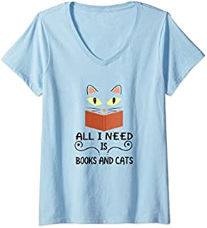 Womens Cute Kitty Face All I Need Is Books And Cats V-Neck T-shirt | Size S - 5XL