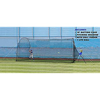 Image of Batting Cages Trend Sports New Version 2.0 Sandlot Pro 4-in-1 Batting Cage, Pitching Machine, Ball Feeder, and Lite Baseball for Kids, Teens, and Adults