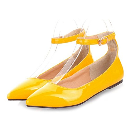 Flats and Pointed Flat Toe and SJJH with Buckle with Heel Court Shoes Yellow Women Plus Sqxvvw5t7