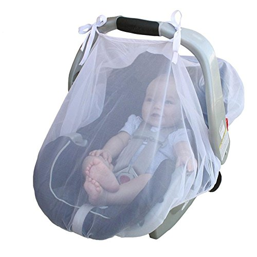 Simayixx Baby Crib Seat Mosquito Net Newborn Curtain Car Seat Insect Netting Canopy Cover (One Size, White) (One Szie, White)