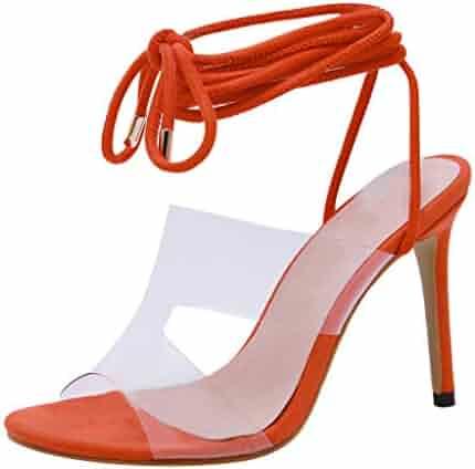2ef392d33c988 Copercn Women's Ladies Faux Suede Bright Color Transparent Hollow Out Band Open  Toe Cross Ankle Tie