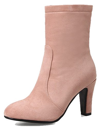 Easemax Womens Elegant Frosted Round Toe High Chunky Heel Side Zipper Boots Pink