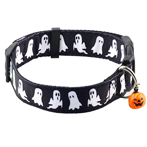 Bolbove Pet Adjustable Halloween Collar Bell Small Sized Dogs (Small, Black Ghost) ()