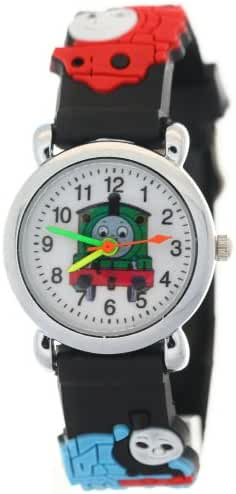 TimerMall Thomas the Tank Engine Friends Cartoon Child Black Rubber Band Quartz Analogue Watches