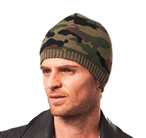 Elegari Men's Woolen Knit ArmyGreen Camouflage Elastic Winter Ski Warm Slouchy Beanie Hat Skull Cap