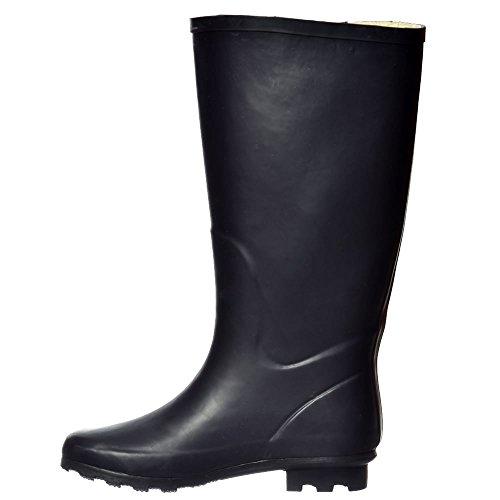 Onlineshoe Damen Flache Breite Kalb Wellie Wellington Festival Regen Stiefel Marine