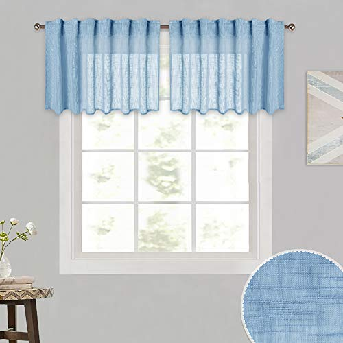 RYB HOME Linen Wave Sheer Valance with Back Tab & Rod Pocket 2 Hanging Methods, Short Drapes for Cafe/Kitchen Small Window, Baby Blue, 52 inch Wide by 18 inch Long Per Panel, 2 Panels