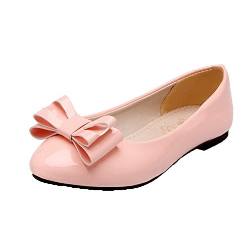 On AllhqFashion Round Leather Toe Shoes Pumps Pull Low Heels Womens Pink Patent ZTYwBq