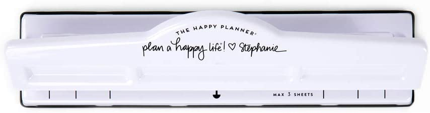 """Disc-Bound Hole Punch Plan A Happy Life Theme White The Happy Planner Big Punch Journaling /& Planner Accessories 8 /½/"""" X 11/"""""""
