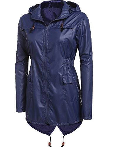 A Capuche Femme Imprim Raincoat Mode Poisson Bleu Manteau Impermable Pluie Marine De Longue Queue CRAVOG Femme De Jacket Points xSwqItWX