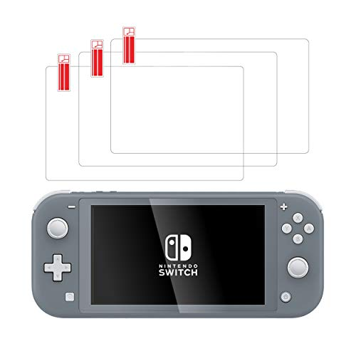 Screen Protector for Nintendo Switch Lite (3 Pack) by way of TalkWorks - Scratch Resistant Tempered Glass for Nintendo Switch Lite, Easy-Install Ultra-Thin HD Glass Screen Cover Film Back