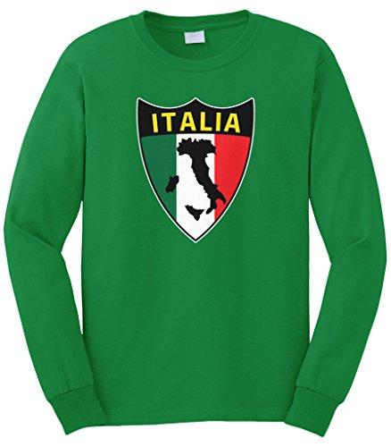 Cybertela Men's Italian Italy Italia Shield Flag Long Sleeve T-Shirt