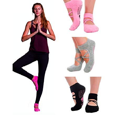 LUCKAYA 3 Pairs Yoga Pilates Barre Non-Slip Socks for Women in a Gift Box with a Bonus!