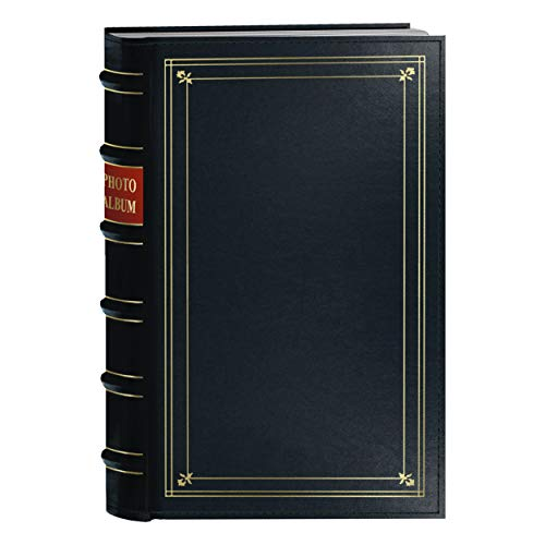 Pioneer Photo 204-Pocket Ring Bound Photo Album for 4 by 6-Inch Prints, Navy Blue Bonded Leather with Gold Accents Cover ()