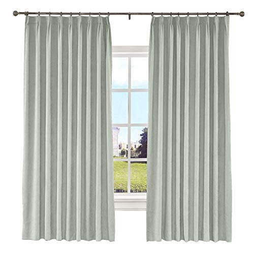 Macochico 50W x 84L Inches Pinch Pleated Curtains with Blackout Lining Thermal Insulated Polyester Cotton Drapery Panel for Bedroom Windows Living Room Sliding Door,Beige Grey (1 Panel)