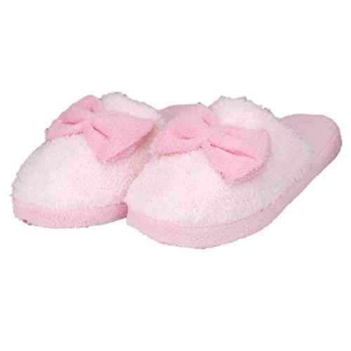 Pantofole Di Casa Euone Donne Morbide Scaldamuscoli Caldi Coperta Di Cotone Bowknot Scarpe Antiscivolo Casa Rosa