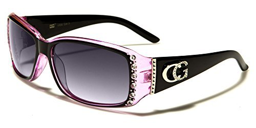 CG Eyewear Womens Rhinestones Sunglasses Rectangular Designer Fashion Black Pink