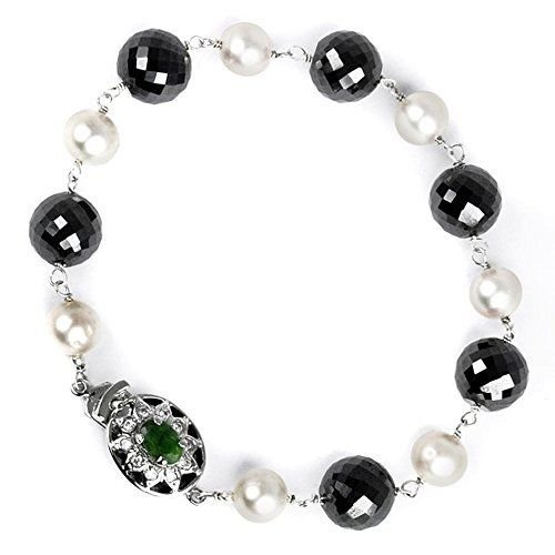 Barishh 30 cts. Handmade Black Diamonds Bracelet with Pearls.AAA.Earth Mined.Certified. by Barishh