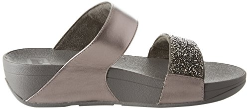 Fitflop Sparklie Roxy Slide, Chanclas Para Mujer Argento (Pewter)
