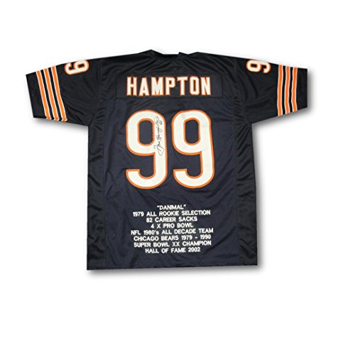 (Dan Hampton Hand Signed Autographed Jersey Chicago Bears SB XX Champs JSA W40971)