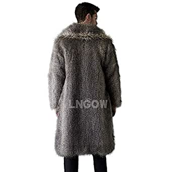 Amazon.com: LNGOW Faux Fur Jacket for Mens Winter Warm