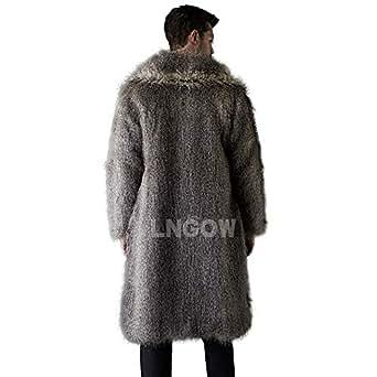 Amazon.com: LNGOW Faux Fur Jacket for Mens Winter Warm