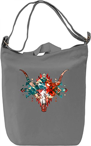 Bull Skull Borsa Giornaliera Canvas Canvas Day Bag| 100% Premium Cotton Canvas| DTG Printing|