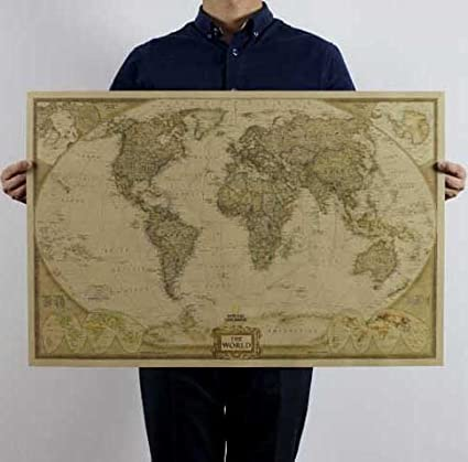 Buy new large vintage world map home decoration detailed vintage new large vintage world map home decoration detailed vintage poster wall chart retro paper matte kraft gumiabroncs Images