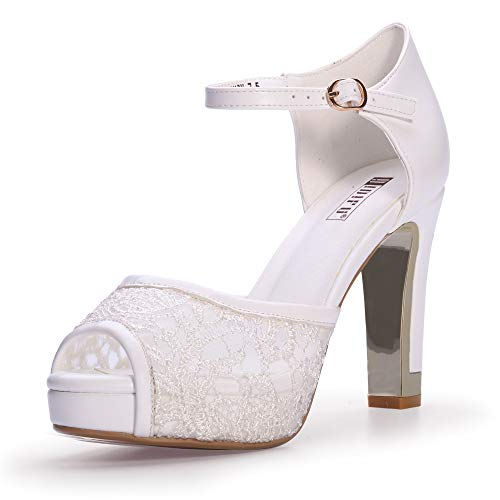 IDIFU Women's IN4 Mary Peep Toe Heeled Sandals Ankle Strap Chunky High Heels Platform Lace Wedding Shoes (8 M US, White) ()