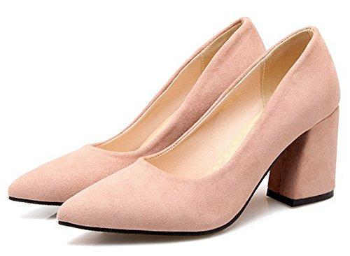 Slip Wear Pink On Cut Pointy High Low Work Simple Shoes Womens Dressy Office Toe To Heel Block Pumps Aisun vqH6wF