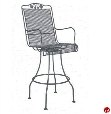 Grid Outdoor Wrought Iron Swivel Dining Barstool Chair