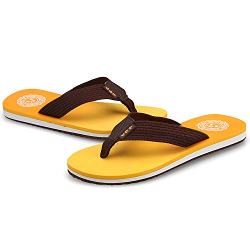 CIOR Mens Handmade Fashion Beach Slipper Indoor and Outdoor Classical Flip-Flop Thong Sandals 01 Orange Y2piuz4