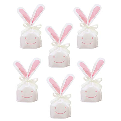 50Pcs Bunny Gift Bags Candy Wrap Bags Party Favors Supplies Rabbit Ear Treat Bags Candy Gift Wrap Bags with Twist Ties for Kids - Gift Bag Bunny