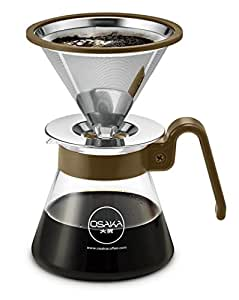 Osaka, Pour Over Coffee Dripper Starter Set, Color Series – Full Brewing Kit For Pourover Coffee Maker Lovers; Carafe, Filter, Measuring Spoon And Drip Tray - 4 Cup (20oz./600ml) Capacity (Brown)