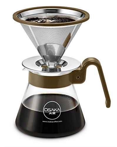 Osaka Pour Over Coffee Dripper 20 oz capacity, Color Series - Full Starter Set for Drip Coffee Lovers.