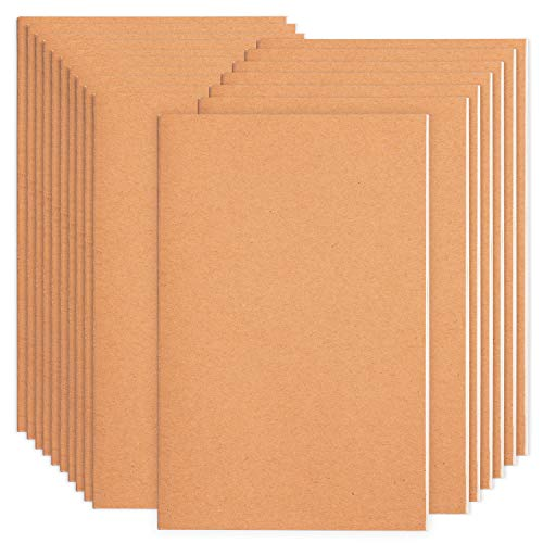 16 Pack Notebook Journals for Travelers, Students and Office , Kraft Brown Soft Cover,A5 Size - 210 mm x 140 mm - 60 Pages/ 30 Sheets,Notebooks 8 Pack Blank Paper and 8 Pack Lined Paper