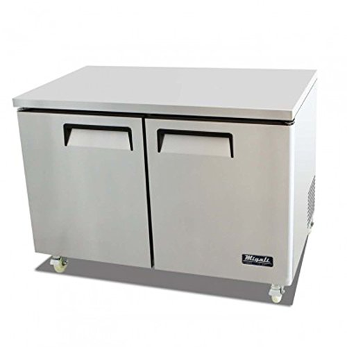 Migali C-U48R 49″ Competitor Series Commercial Under Counter Cook Top Refrigerator with 12 cu. ft. Capacity Rear Mount Compressor Pre-installed Casters and Hold Door Open Feature in Stainless