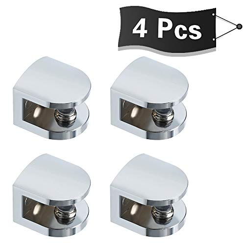 Alise 4 Pcs Adjustable Frameless Rectangle Glass Shelf Bracket Holder Heavy Duty Clamp Shelf Clip,BL1012-4P Polished Chrome