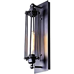 LNC A02251 Industrial Lamp Wire Cage Use E26 Bulb Lighting Wall Sconces, Black